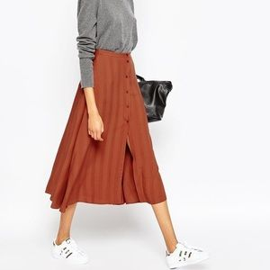 ASOS Button Up Midi Skirt in Rust
